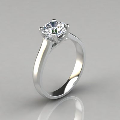 Round Cut Cross Prong Solitaire Engagement Ring
