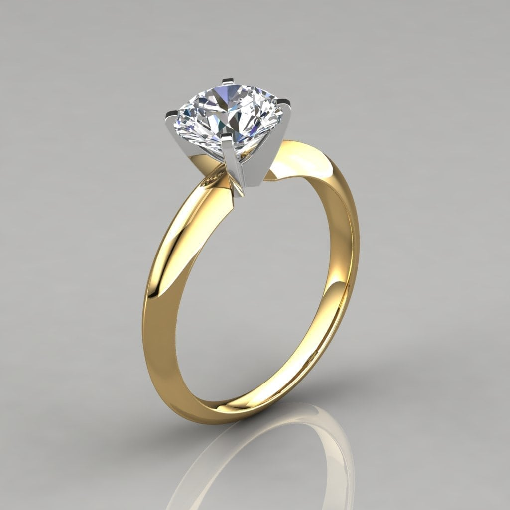 Classic 4 Prong Round Cut Tiffany Style Engagement Ring