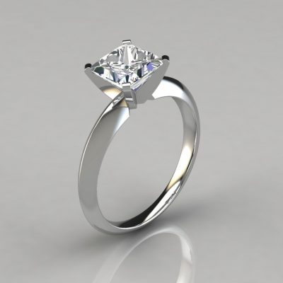 Classic 4 Prong Princess Cut Tiffany Style Engagement Ring