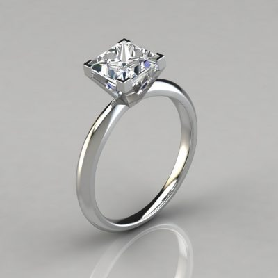 Solitaire Square V-Prong Peg Setting Engagement Ring