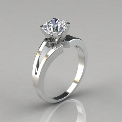 Split Shank Round Cut Solitaire Engagement Ring