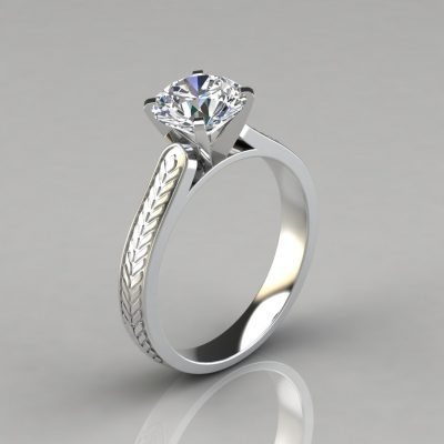 Engraved Round Cut Solitaire Engagement Ring