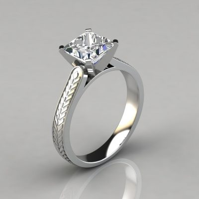 Hand Engraved Princess Cut Solitaire Engagement Ring