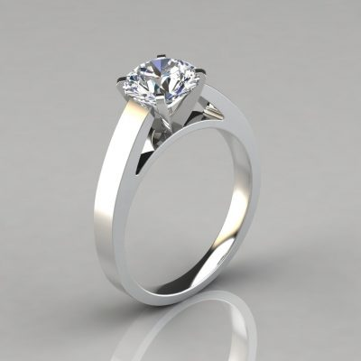 Round Cut Solitaire Cathedral Style Engagement Ring