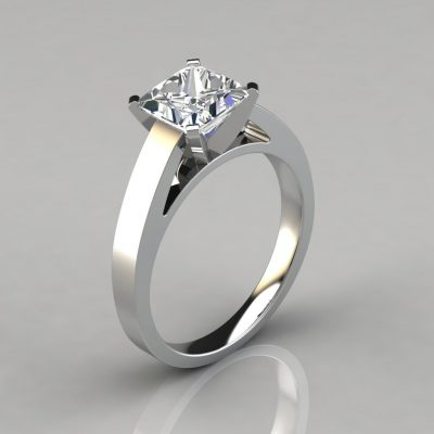 Flat Edged Solitaire Cathedral Style Engagement Ring