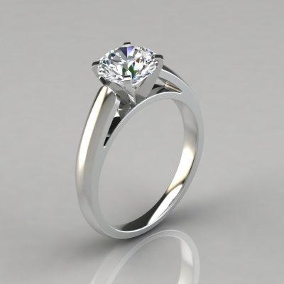 Cathedral Round Cut Solitaire Engagement Ring