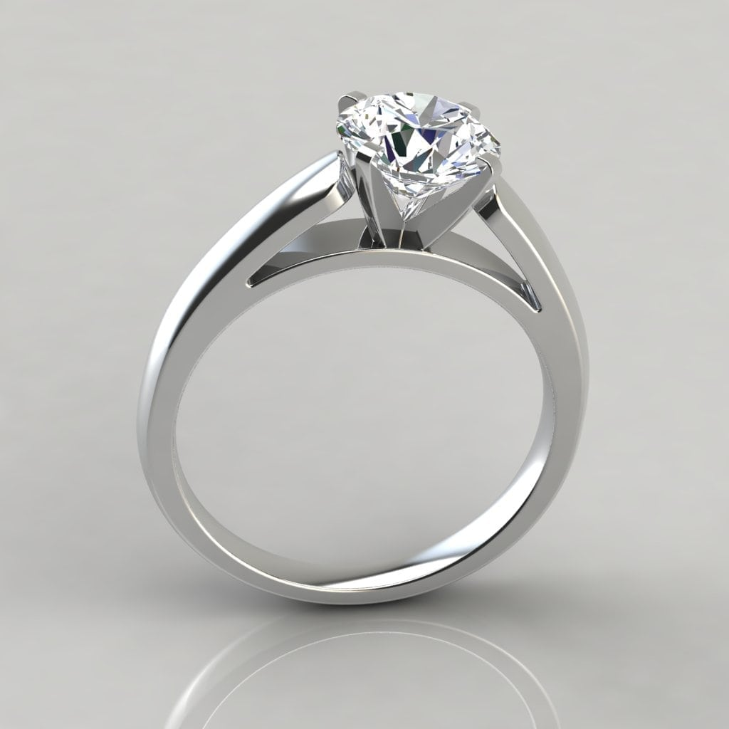 cathedral round cut solitaire engagement ring forever. Black Bedroom Furniture Sets. Home Design Ideas