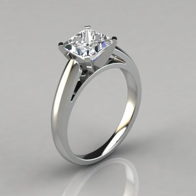 Cathedral Design Princess Cut Solitaire Engagement Ring