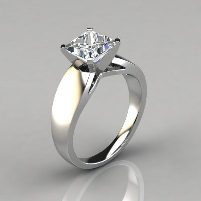 Wide Band Princess Cut Solitaire Engagement Ring