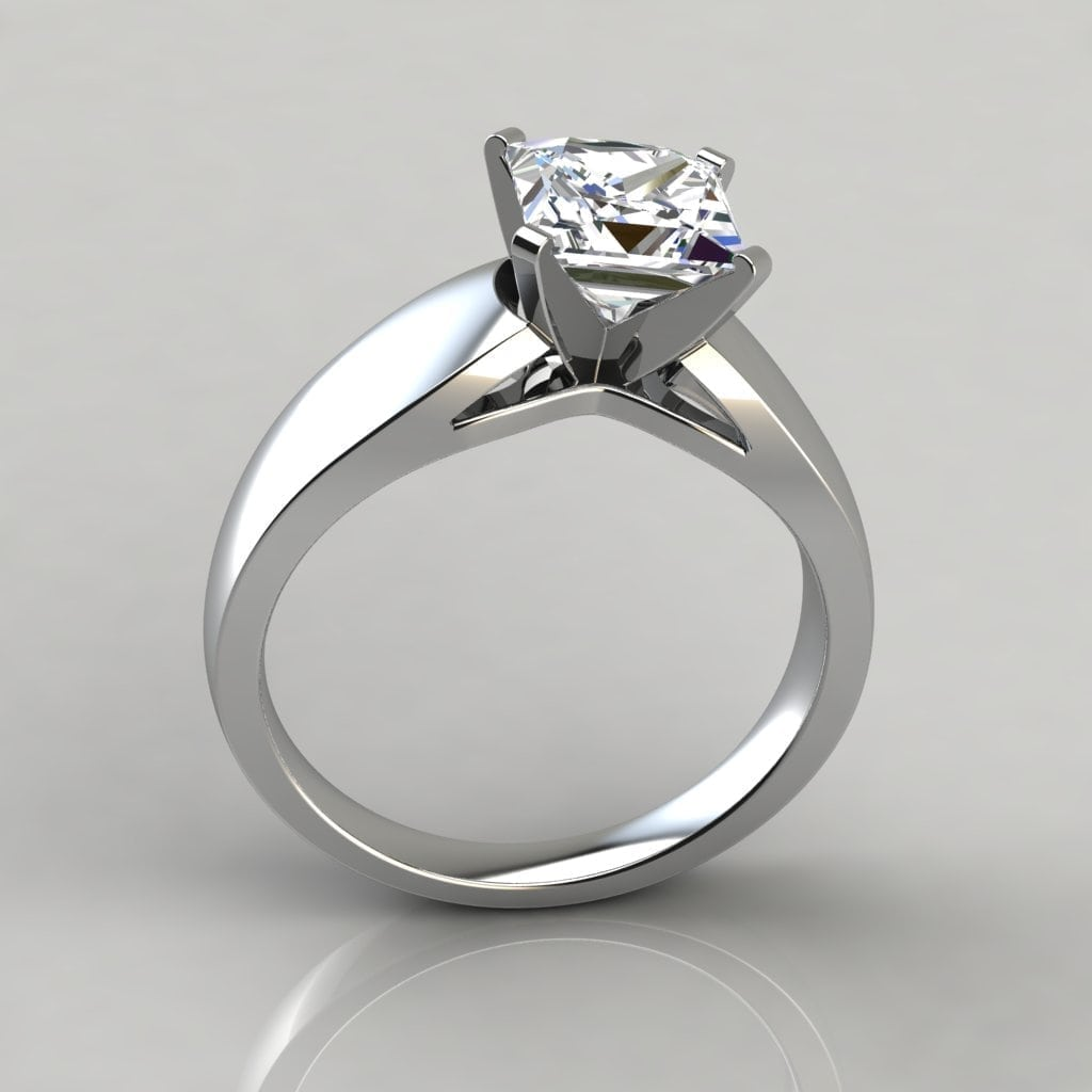 Wide Band Princess Cut Solitaire Engagement Ring Forever