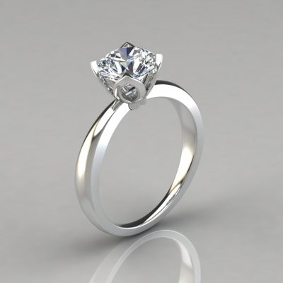 Tulip Head Solitaire Engagement Ring