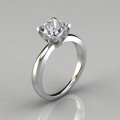 Princess Cut Tulip Head Solitaire Engagement Ring