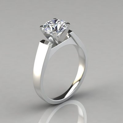 Round Cut Solitaire Petite Cathedral Style Engagement Ring