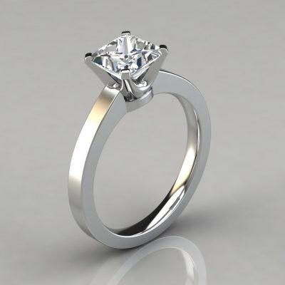 Princess Cut Moissanite Solitaire Engagement Ring
