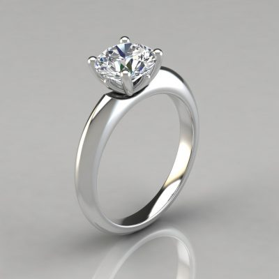 Crown Solitaire Moissanite Engagement Ring