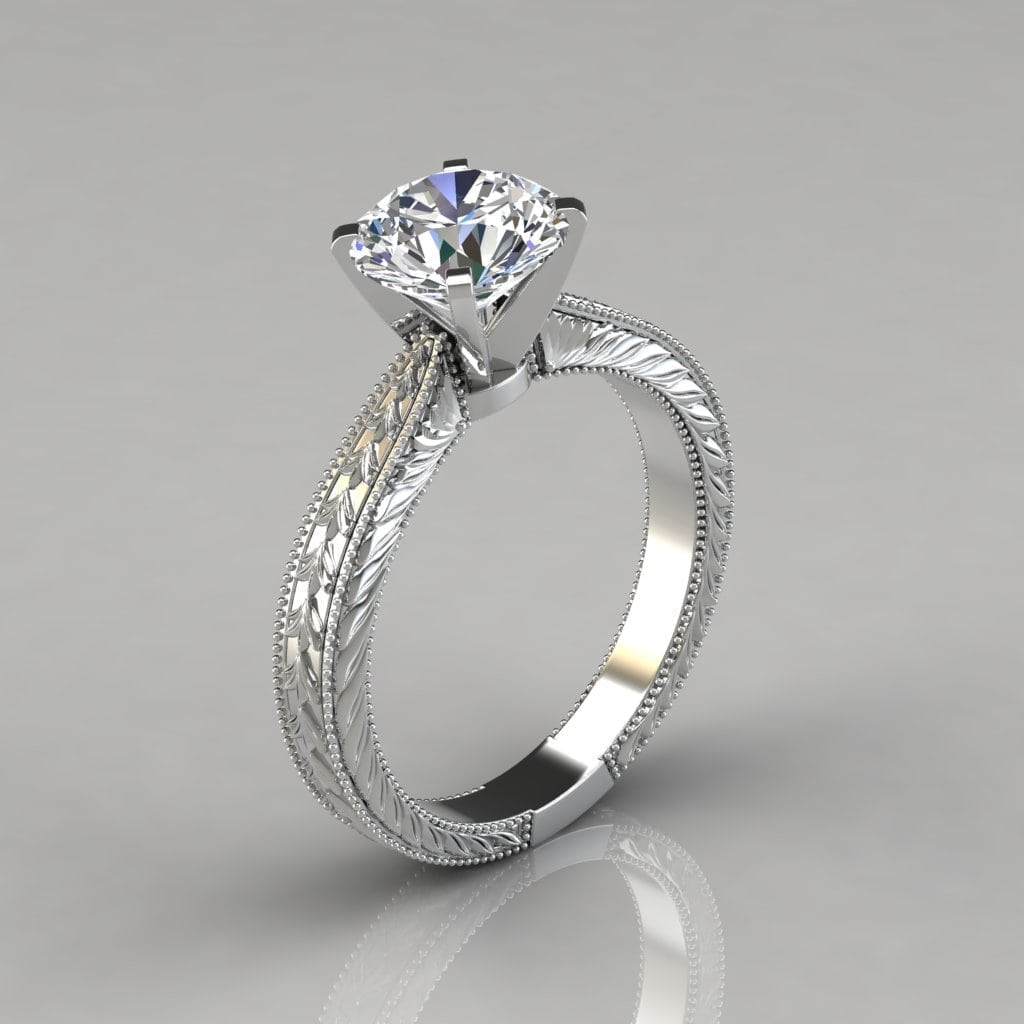 Engagement Rings In Which Hand: Hand Engraved Solitaire Engagement Ring