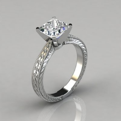 Hand Engraved Princess Cut Moissanite Solitaire Engagement Ring