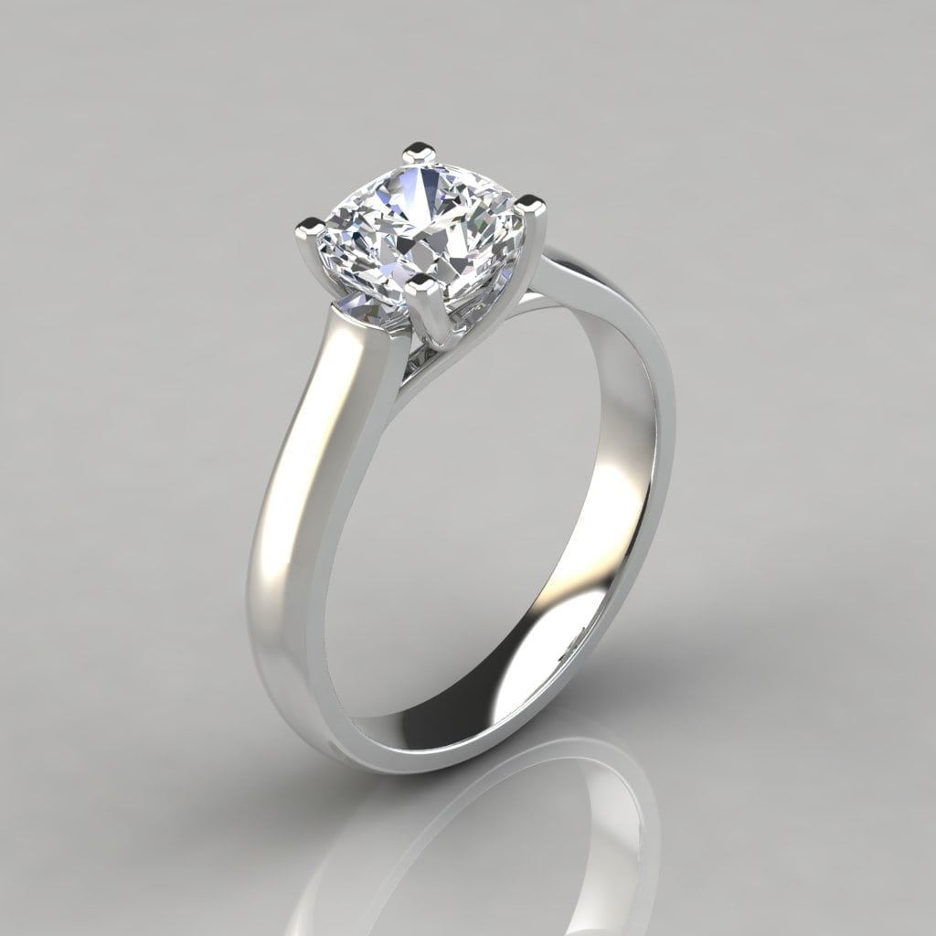Cross Prong Cushion Cut Solitaire Engagement Ring
