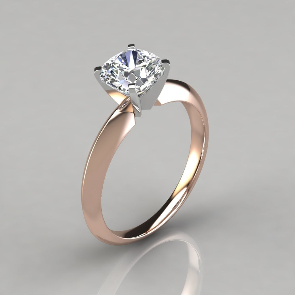 Knife Edge Cushion Cut Solitaire Engagement Ring Forever