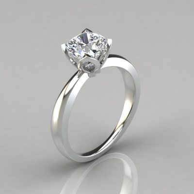 Petal Design Cushion Cut Solitaire Engagement Ring