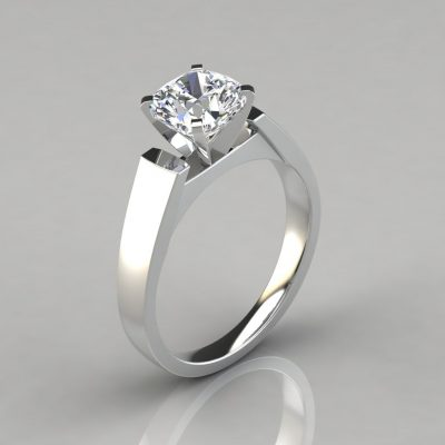 Flat Edged Cathedral Cushion Cut Solitaire Engagement Ring