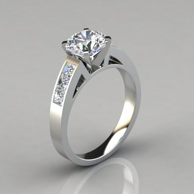 Round Cut Channel Set Engagement Ring