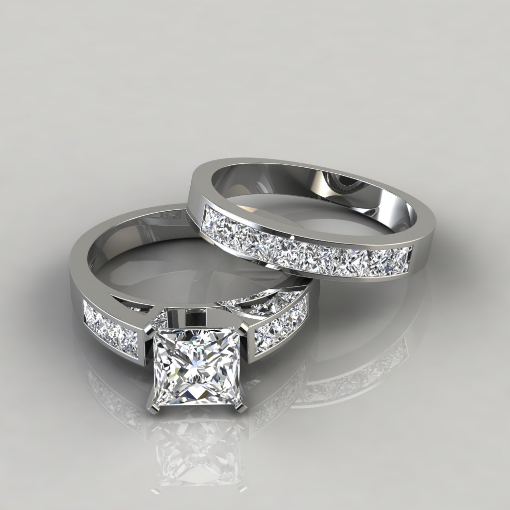 Princess Cut Engagement Ring and Wedding Band Bridal Set ...