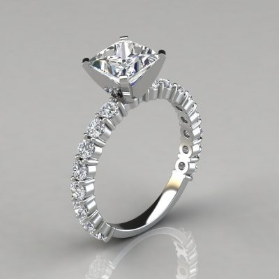 Princess Cut Common Prong Engagement Ring