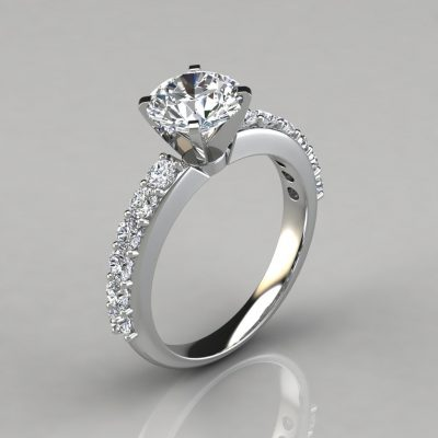 Shared Prong Round Brilliant Cut Engagement Ring