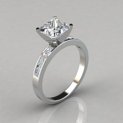 Channel Set Princess Cut Moissanite Engagement Ring