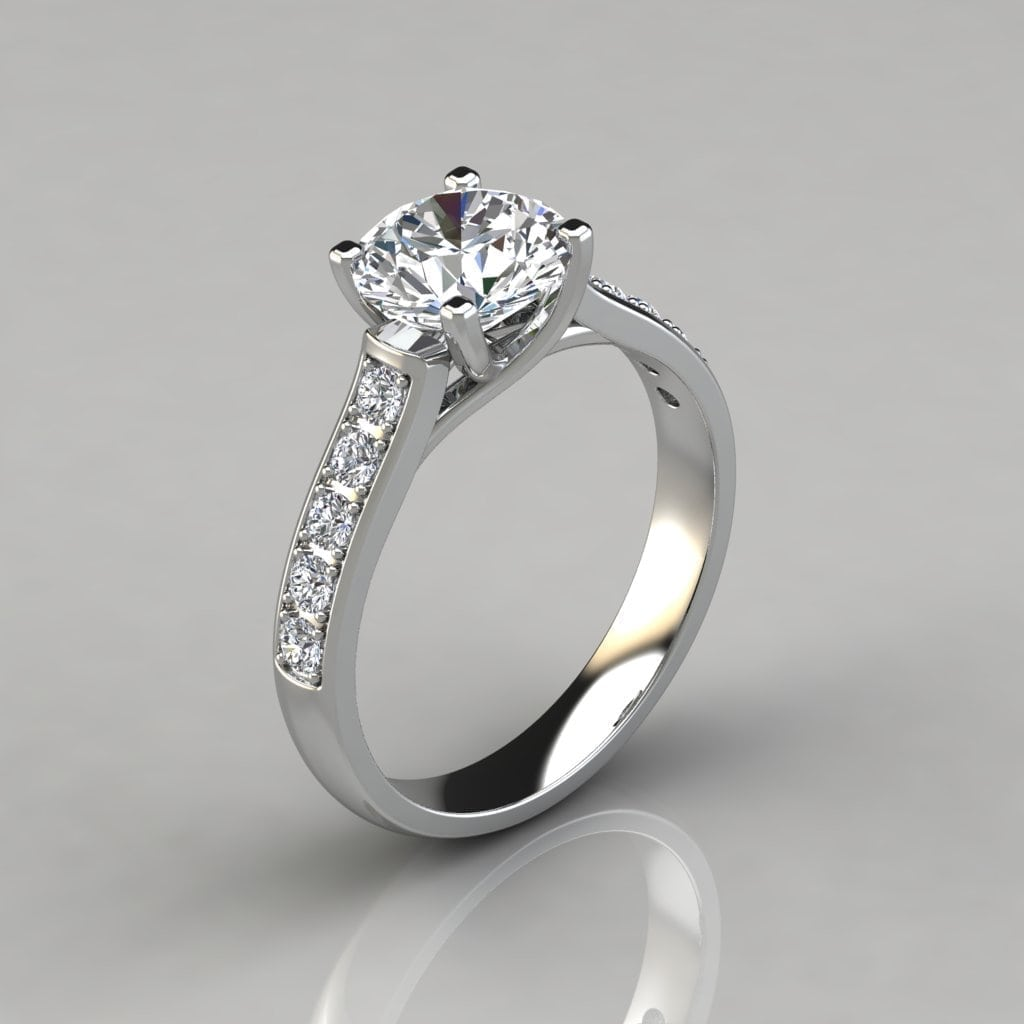 Solid Gold Round Cut Cross Prong Engagement Ring