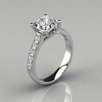 Princess Cut Cross Prong Engagement Ring