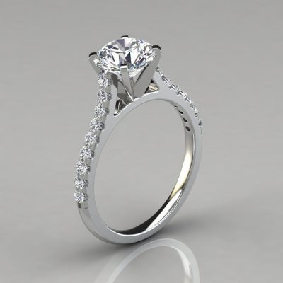 Round Cut Cathedral Style Engagement Ring With Accents