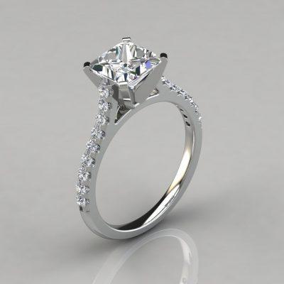 Tall Cathedral Princess Cut Engagement Ring