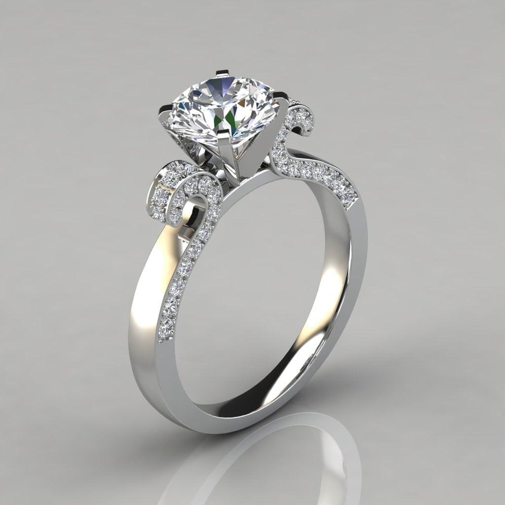 Engagement Rings Round Cut: Vintage Floral Design Round Cut Engagement Ring