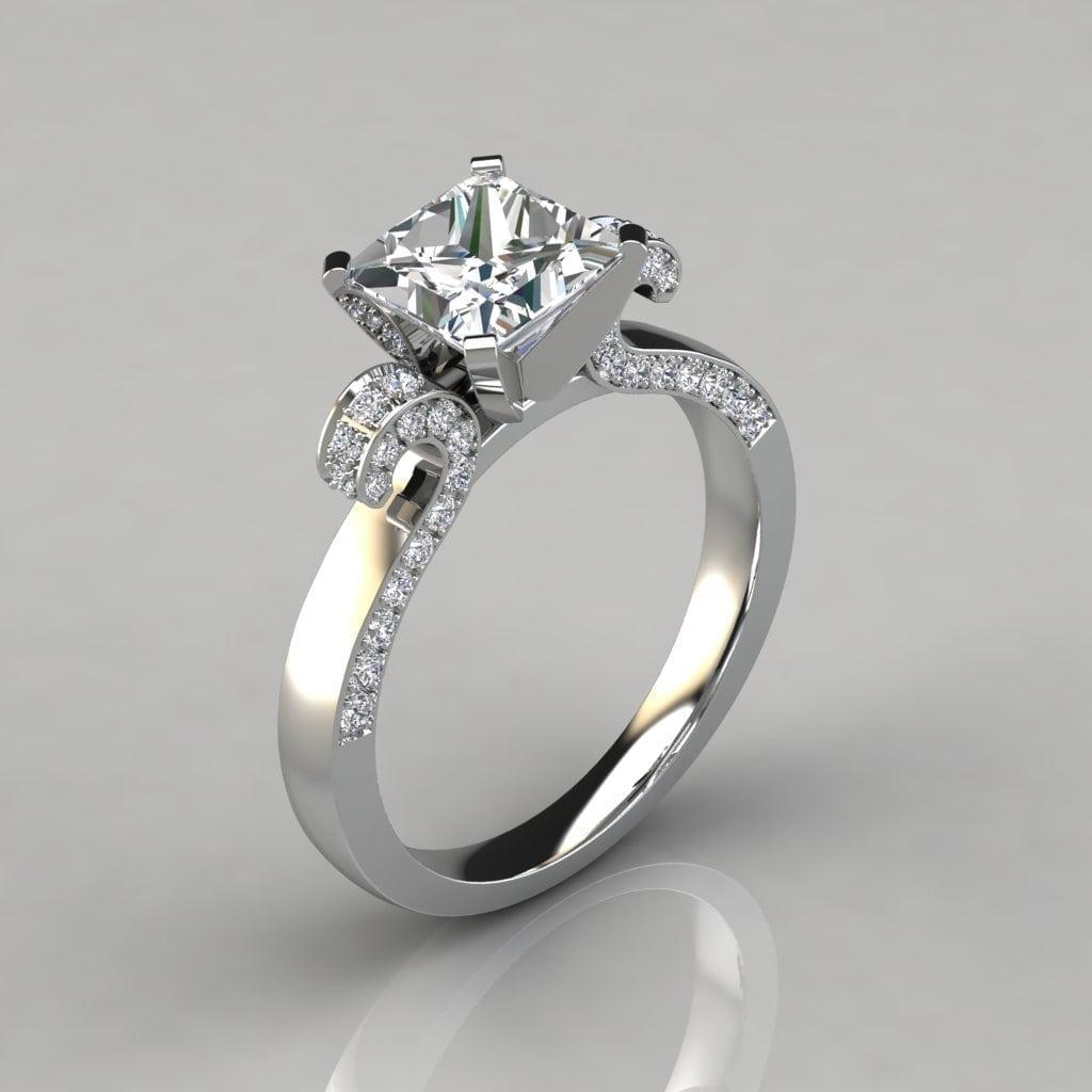 26e6968503d69 Vintage Floral Design Princess Cut Engagement Ring - Forever Moissanite