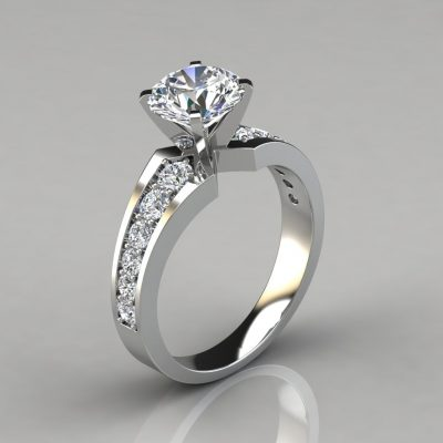 Graduated Pave Round Cut Engagement Ring