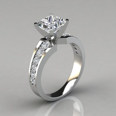 Graduated Pave Princess Cut Engagement Ring