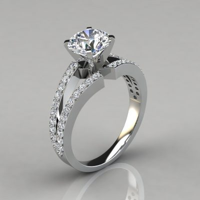 Split Shank Round Cut Engagement Ring With Accents