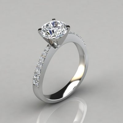 Tapering Pave Round Cut Engagement Ring