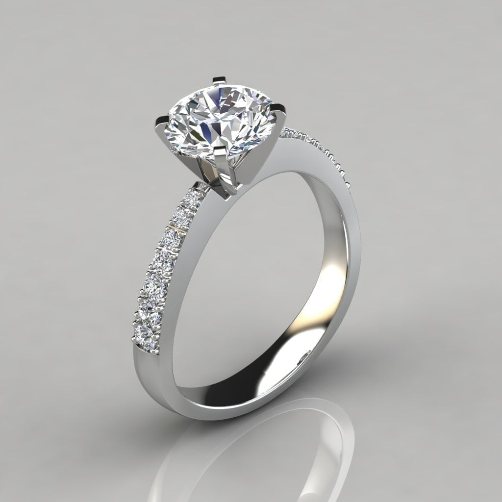 Engagement Rings Round Cut: Tapering Pave Round Cut Engagement Ring