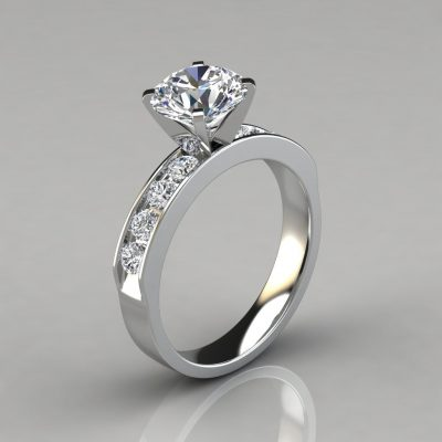 Round Cut Moissanite Channel Set Engagement Ring
