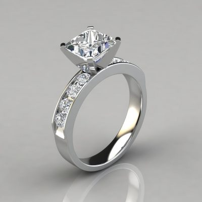 Moissanite Channel Set Engagement Ring