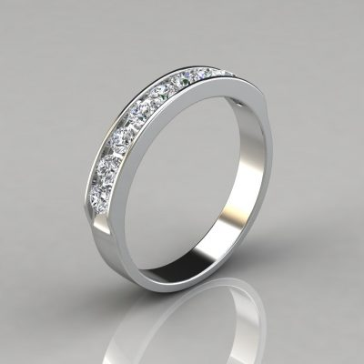 0.45Ct Ladies Round Cut Wedding Band Ring