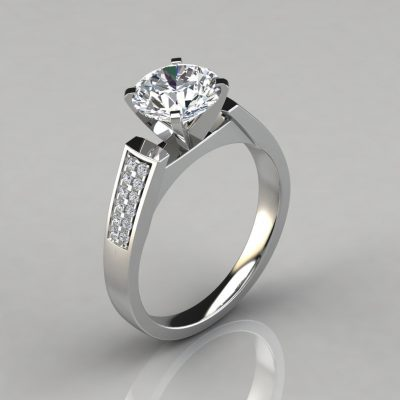 Flat Edged Cathedral Style Engagement Ring