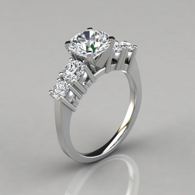 Five Stone Round Cut Engagement Ring