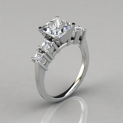 Five Stone Princess Cut Engagement Ring