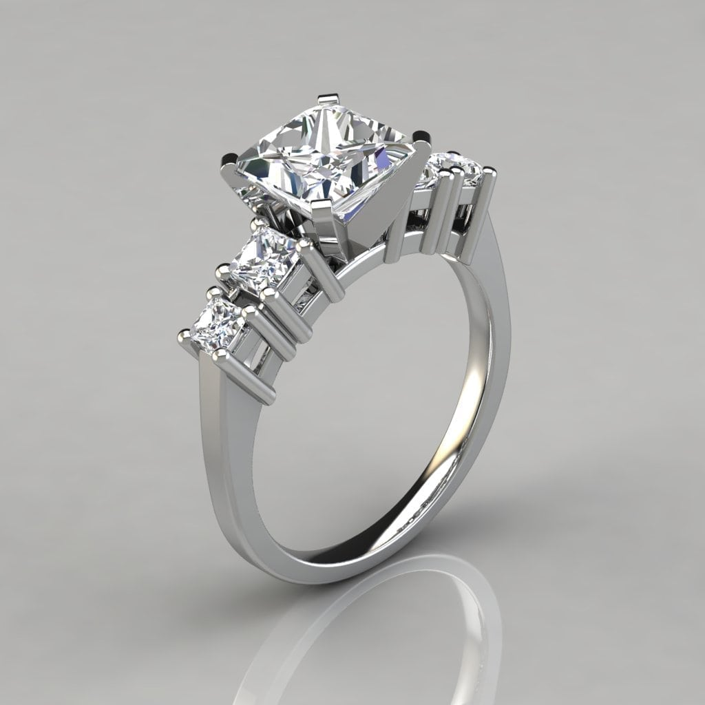 Five Stone Princess Cut Engagement Ring