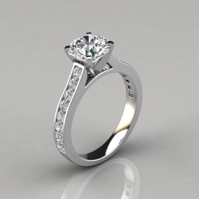 Cathedral Round Cut Channel Set Engagement Ring