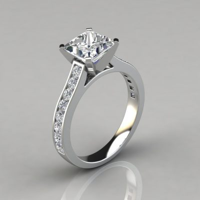 Cathedral Style Channel Set Engagement Ring